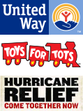 United Way, Toys for Tots, Hurricane Relief: come together now